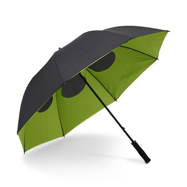 Ett paraply med dubbla paneltyger, inte bara en snygg effekt, utan också funktionell! Ett färgstarkt innetyg med en svart utsida. Hålrum för luftflöde genom de  8-panelerna. Manuell uppfällningmed kraftigt grafitskaft och greppvänligt gummerat handtag.