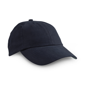 Low profile cap with six panels, curved peak, and velcro strap closure at the back.