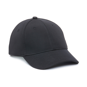 A stylish and stylish design on a cap with a discreetly patterned and  textured fabric. 6 panels, pre-curved peak and velcro closure at the back.