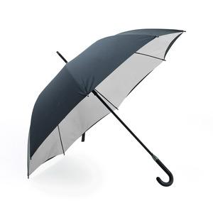 Exklusivt och extra vindtåligt paraply med gummerat handtag och dubbla tyger. Svart utsida och ljusgrå insida.