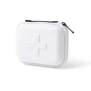 Caring is a great gift! This fresh white first aid kit is packaged in a shockproof EVA foam case and filled with thoughtful and useful products. The box contains wound cleanser, bandages, tape, safety pins, triangle bandage, gauze, and a wrap bandage. Dimensions: 16 x 12 x 5 cm. Print size 4 x 1.5 cm on the front. 7 x 10 cm on the back.Please note: Only possible to print in 1 color!