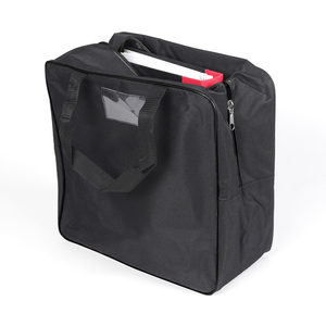 Bag in durable 600 D polyester material. Perfect for carrying heavy binders or ski boots in. Plastic pocket for business cards on one side. Extra strong zipper with two tabs.