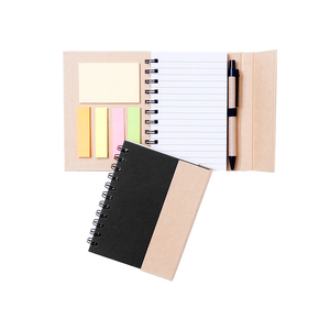Notebook in environmentally friendly material, matching pen, lined pad, and practical post-it notes in different colors. The cover goes around the whole notepad and is held closed by magnet. Comes with black or natural colored front. Outlet price due to varying adhesion on the small post-it notes.