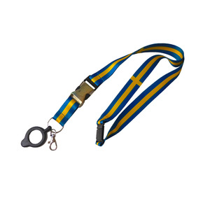 Swedish flag lanyard with removable quick release. Features a drink holder and snap hook on the key ring.The strap is extra soft, sublimation printed, and has a safety buckle in the neck. Immediate delivery from stock.With custom print from factory - Estimated 3-4 weeks. (Prices quoted apply to stock order as shown, without own print)