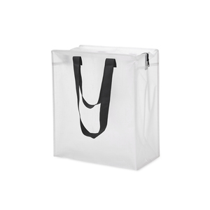 A practical storage bag in transparent PP Woven material. You can easily view what is inside. It is equipped with a zipper and double handles. The material makes for a durable, water-repellent and long lasting bag.