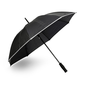 Powerful umbrella with eight panels and a comfortable EVA foam handle. Stormproof and safe with reflective tape sewn to the bottom of each panel.