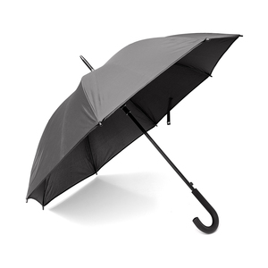 A stunning all-black umbrella with J-shaped rubberizedhandle for an extra good grip. Automatic folding.Metal plate on the buckle for discreet pressure orembossing (embossed logo only for special -order).