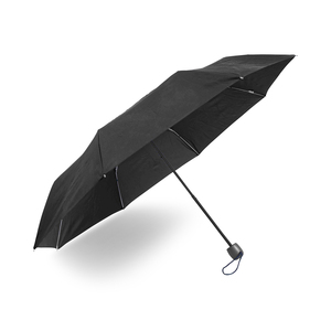 Compact umbrella with eight panels. Able to be turned inside out without breaking. 3-part shaft, manual folding, tips and top in black metal. Black, straight handle with wrist strap. Delivered in a case.
