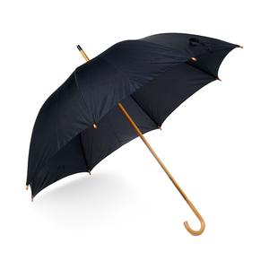 Klassiskt paraply med J-handtag och trädetaljer. Manuell uppfällning med åtta paneler. Skaft,tippar, topp samt J-handtag i trä.