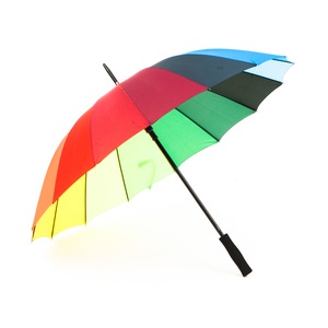 Colorful umbrella with 16 panels in all shades of the rainbow. Black metal shaft and EVA foam handle. Panel colors and placement may vary.