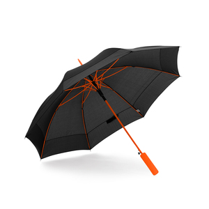 Get the feeling of unique design and tailor-made finish with colored ribs, rods, and handles in strong accent colors. Sturdy 8-panel umbrella with automatic folding. Steel shaft and an EVA foam handle.