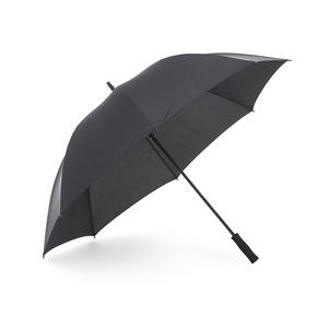"Our affordable golf umbrella Mine is now available in an environmentally smart alternative, where the panels are made of recycled PET (R-PET). Available in black with 14 mm shaft and rod in graphite. Wind-resilient to strong breezes. Features manual folding, EVA foam handle, and 8 panels. The R-PET option is marked with a hang tag and a discreet tone-on-tone print on the closing strap outside of the panels saying ""Recycled PET""."