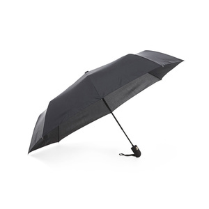 A sturdy compact umbrella with graphite rod, which makes the construction more resilient to high winds. It has 8 panels and is available in standard black fabric. This model is also available with panel fabric made of recycled polyester (R-PET). The umbrella has automatic folding, three-part black steel shaft, and a rubberized handle with wrist strap. The quality of the panel fabric is called Pongee and gives a higher quality and finer finish when printed.