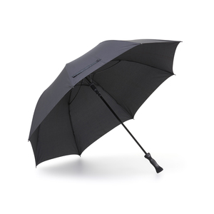 High quality golf umbrella with a stylish pattern on the solid handle. The eight-panel umbrella is wind-resistent with flexible ribs. A 14 mm graphite shaft and the grip-friendly rubberized handle make the umbrella extra stable. At the end of the handle is a printable plate, which can be marked with 1-color print, so the brand can be seen well, even in the umbrella stand. Features automatic folding.