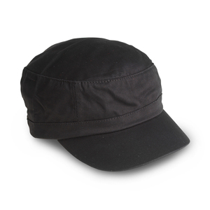 Cap in an army style with short peak, low profile, and metal buckle slide closure in the back.