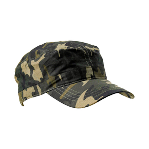 "Cap in ""army style"" with short peak and low crown. Fabric with a checkered material structure and with velcro fastening at the back."