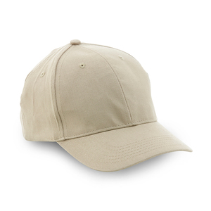 Popular 6-panel hat with pre-curved peak and velcro strap closure in the back.
