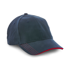 6-panel hat with straight decorative seams on the pre-curved peak. Closed back.