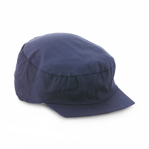 Thin work cap with short peak and an elastic back.
