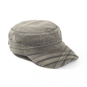 Low profile army cap in stonewashed cotton. The peak is styled with overlapping ribbons as a decorative effect. Push button closures in the back.