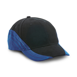 6-panel cap with sides in fabric and embroidery in matching color that continues towards the center of the peak. Velcro buckle closure at the back.