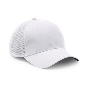 Sporty cap in trendy mesh back panels and cotton front panels. Comfortable fit and functional fabric make it suitable for sports of all kinds. Pre-curved peak with black underside and elastic band, 6 panels, and closed back.