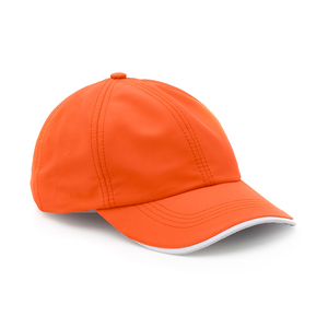 A sporty cap in a thin, breathable fabric with a faintly textured pattern. The pre-curved peak has a decorative edge in white and a underside in reflective gray. Velcro closure at the back.