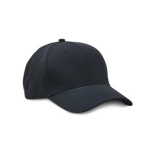 Cap made of recycled polyester, or R-PET material. The cap's fabric has a canvas feel, with a pre-curved peak and velcro closure for size adjustment.