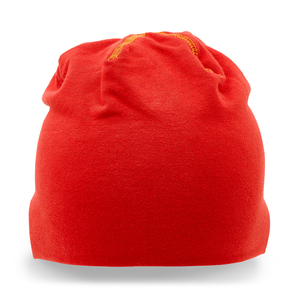 Stretchy cotton hat, sewn in double layers with visible contrast stitching. Now at a promotional price!