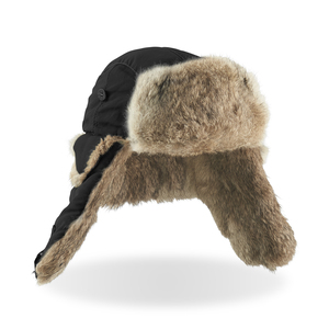 An exclusive winter hat made of real fur (certificate available). Decorative stitches in the same shade as the fur follow over the black polyester. Buttons and fasteners make the hat possible to wear in different ways. Now on sale!