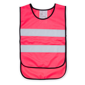 Reflective vest in child size, CE-approved according to EN 1150. Available in four different fluorescent colors - green, orange, yellow and pink. Extra wide reflectors, about 55 mm, are attached to the front and back. A longer back provides extra visibility and surface for printing. Elastic band at the sides makes the vest easy to put on and take off. Suitable for users up to 121 cm.