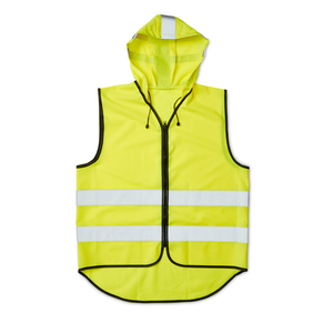 CE-approved fluorescent vest in unisex model with strong plastic zipper in the front, and extended back for extra visibility. The reflective vest is equipped with a hood, which has several reflectors and adjusting cords. The hood also serves as a practical storage as the vest can be rolled up in the hood and closed with Velcro fasteners. The reflectors around the vest are 55mm wide. The warning vest is approved according to EN ISO 20471, class 2. That is. approved to be worn in most workplaces that require extra visibility, day and night. Delivered in a case. When printing on the vest - According to CE standard, the background material may be covered with a total of 1208 cm2, of which a maximum of 750 cm2 on the front.