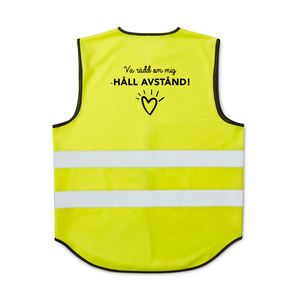CE-approved fluorescent vest in unisex model with velcro at the front. The reflectors around the vest are 55mm wide. Designed with an extended rear section that provides visibility and extra surface for printing. The warning vest is approved according to EN ISO 20471, class 2. It is approved to be worn in most workplaces that require extra visibility, day and night. Delivered in a case.When printing on the vest - According to CE standard, the background material may be covered with a total of 1120 cm2, of which a maximum of 697 cm2 on the front.Right now we are offering a free film charge if you choose to print the message of mindful distancing.