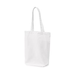 Kasse i bomull med långa handtag att bära över axel, kraftig modell med bred bälg. Populär och användbar tygkasse i flera färger.