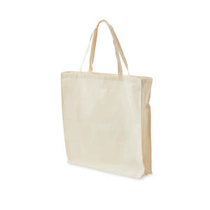 A spacious carrying bag of 140 gram standard cotton with bottom and side gussets.