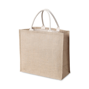Bag in natural jute with grip-friendly cotton handles. Perfect bag to go  shopping with, sturdy and with a long service life. The process of making fabric from the jute plant is generally energy efficient. As jute is not as attractive to pests, it does not need to be sprayed with chemicals during farming. A smart environmental choice!