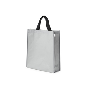 Carrying bag in durable R-PET woven. It is a material that comes from recycled consumer plastic from PET bottles, for example. A discreet message on the side gussets tells more about the origin of the bag. Labels and hang tags also make it clear to the user that the bag is an environmentally smart choice. Please note: As of now we do not have the opportunity to print on this bag.