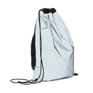 Reflective gym bag that provides extra visibility in the dark. The functional gym bag has a classic closure with a drawstring solution and the strings as carrying straps. Eyelets in metal give extra durability. The front and the back are reflective, the strings and top are black. A good gym bag for extra safety for both children and adults. Only transfer printing possible.