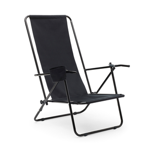 Sturdy beach chair made of 600D polyester and a reinforced steel frame.A cup holder and two sitting positions make it extra comfortable!Note! This product does not apply to free shipping for web orders. Refill in stock at the end of June.