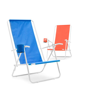 Beach chairs - a great summer gift! Order 100 or more from the factory and get the opportunity to make this summer's corporate gift unique with close to 30 different fabric color choices and 4 different frame colors - black, white, grey and silver. This is a sturdy beach chair with fabric of 600D polyester and a reinforced steel frame. A cup holder and two sitting positions make this chair extra comfortable! A company logo on the back of the chair is a perfect advertising space on the beach. See product sheet for color selection on frame and fabric. We are happy to help you produce sketch suggestions.Please note, this product does not apply to free shipping for web orders. Film charge will be added with recommended price of 740 SEK / color. The minimum quantity from the factory is 100 pcs. Ordering less than 100 is not possible with colored chairs. If the order is smaller then we refer to black chairs from our warehouse to fill the order.