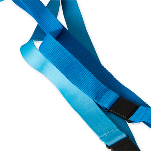 Choose to make your lanyard in extra soft satin ribbon design instead of traditional ribbed woven material. With extra soft, the finish becomes shiny and soft with a satin feel. Compare the difference in the picture where the darker blue lanyard is standard and the lighter with the option extra soft.