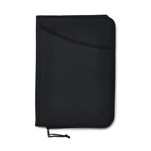 Notepad cover in 600 D-polyester with pocket on the front with the possibility to embroider. Zipper around the outside edges and on several compartments inside, where there are pen holders, business card compartments, and other storage capabilities.
