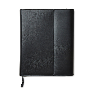 Notebook cover in faux leather in A4 size with ring binder for pre-punched papers. Inside the cover contains several compartments and pockets. Closure with zipper and magnetic covers.