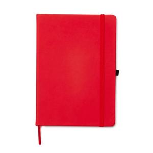 Omslaget är tillverkat i PU-material med silkeslengummerad yta. Ett resårband håller bokenstängd. Markörband och pennhållare gör anteckningsblocketextra användarvänligt. Innehållerlinjerat block på 80 sidor med 80 gpapper.