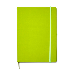 Notepad cover in A4 format, made of PU material with a silky smooth rubberized surface. An elastic band keeps the book closed. Marker tape and pen holder make the notebook extra user-friendly. Contains 80 pages of lined note paper made from 80 gram sheets.