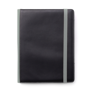 Notepad cover in softly padded PU material with a silky smooth surface. Decorative seams and details such as back and travel strap in gray. Several compartments and pockets inside together with pen holder and insert for an A4 notepad (included).