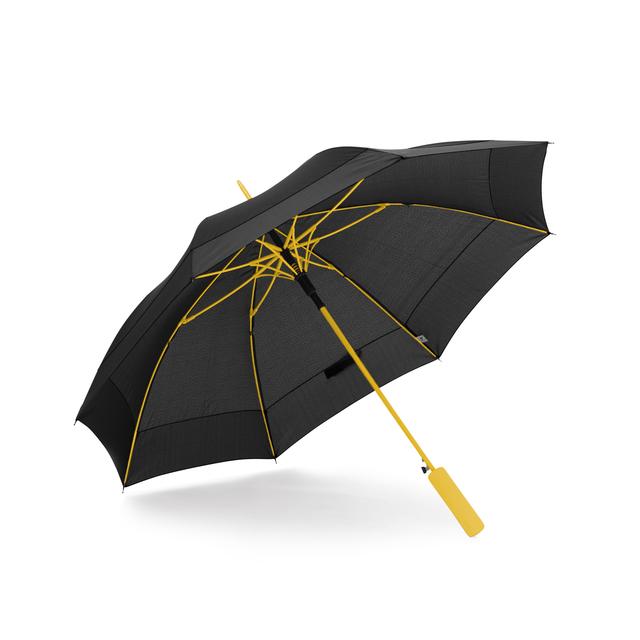 Få känslan av unik design och skräddarsydd finish med infärgade spröt, skaft och handtag i starka accentkulörer. Stadigt 8-panels paraply med automatisk uppfällning. Stålskaft och rakt EVA-foam handtag.