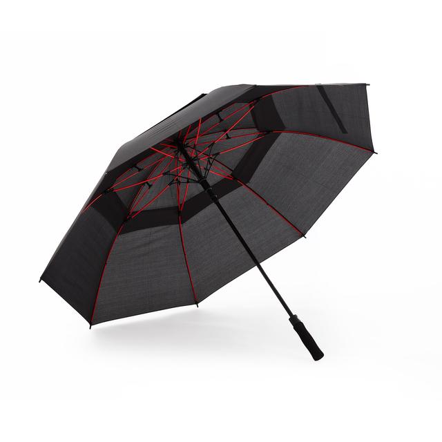 Ett golfparaply med neonfärgade spröt i mekanismen som ger paraplyet en unik design. De åtta 2-delade panelerna gör paraplyet extra vindtåligt. Automatisk uppfällning, grafitskaft och greppvänligt EVA-foam handtag.