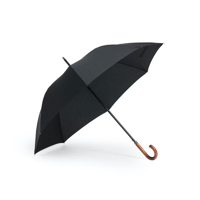 Ett stiligt paraply med grafitspröt som gör det vindtåligt och stabilt. Klassiskt J-handtag i trä. Med sina 120 cm i diameter är det ett mellanting mellan golf- och standardparaply. Automatisk uppfällning. Åtta paneler. Skaft, tippar, topp i svartlackad metall.