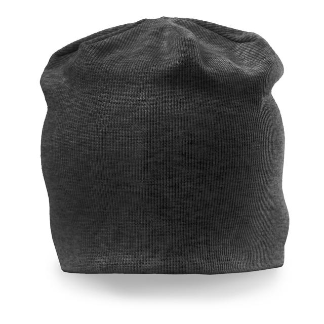 """Trendig mössa i tunt ribbstickat """"Jersey-tyg"""" i dubbla lager. Passar året runt, då denna modell både är lätt och följsam."""